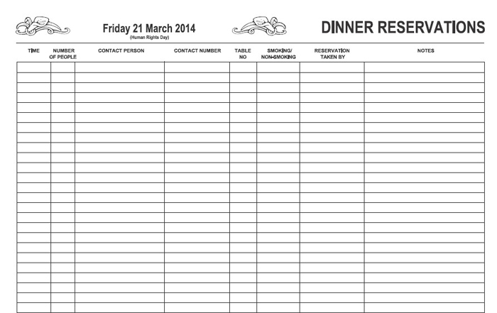 restaurant reservation sheet template - page detail the restaurant book company